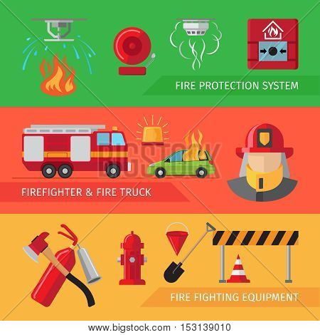 Firefighters flat horizontal banners for webpage infographics. Vector smoke and fire alarm, fire truck and fire safety equipment