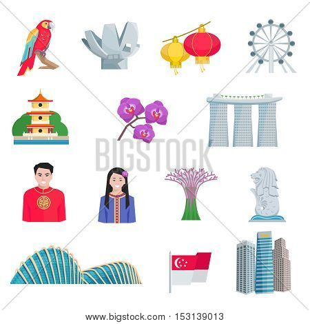 Singapore tourists attractions with national cultural symbols and landmarks flat icons set abstract vector isolated illustration