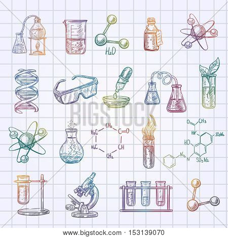 Chemistry sketch icons set on checked exercise book background isolated vector illustration