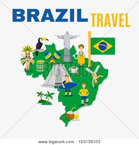 International travel agency love brazil poster with country map flag and symbols in national colors flat vector illustration