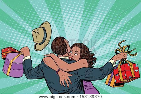 African American couple happiness from gifts and shopping, pop art retro illustration. Valentines day and holiday sales. Man and woman in love