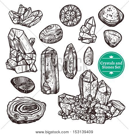 Hand drawn monochrome icons set of crystal stones rocks with white background vector illustration