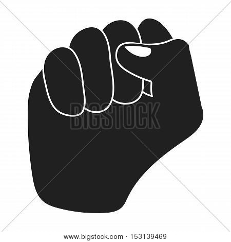 Raised fist icon in black style isolated on white background. Hand gestures symbol vector illustration.