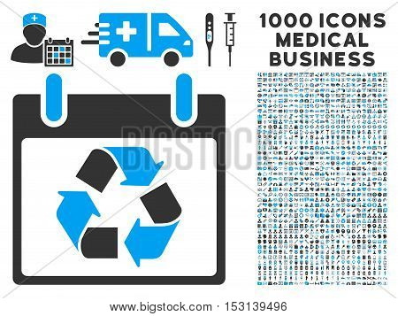 Blue And Gray Recycle Calendar Day glyph icon with 1000 medical business pictograms. Set style is flat bicolor symbols, blue and gray colors, white background.