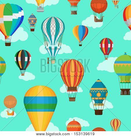 Vintage hot air balloons seamless pattern. Cartoon air balloon background. Vector illustration