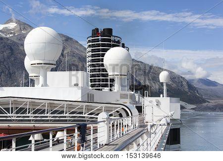 The cruise ship exploring Glacier Bay national park (Alaska).