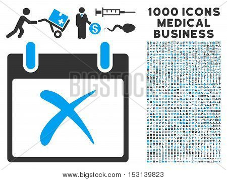 Blue And Gray Reject Calendar Day glyph icon with 1000 medical business pictograms. Set style is flat bicolor symbols, blue and gray colors, white background.