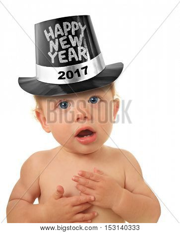 Cute Happy New Year Baby studio isolated on white. 2017