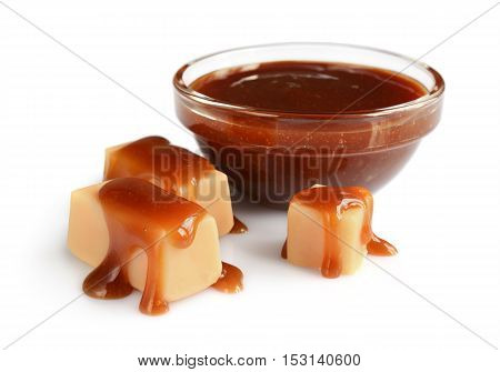 Caramel Candies And Liquid Caramel In Glass Bowl