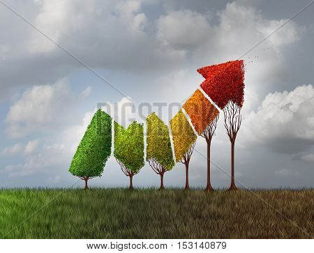 Investing during autumn season as a group of trees shaped as a financial profit arrow that are changing leaf color as a finance symbol of aging investment and limited potetial losing momentum with 3D illustration elements.