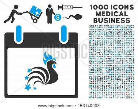 Blue And Gray Rooster Fireworks Calendar Day glyph icon with 1000 medical business pictograms. Set style is flat bicolor symbols, blue and gray colors, white background.