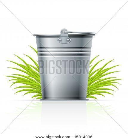 Metallic Bucket In Grass