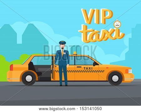 Vip taxi service with yellow car cab, driver in uniform and open door vector illustration