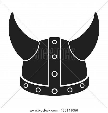 Viking helmet icon in black style isolated on white background. Hats symbol vector illustration.