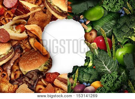 Diet eating choice as a human head in a food background with half greasy junk food and the other side with green healthy fruit and vegetables as a health symbol for a dietition or nutritionist and choosing diet lifestyle.