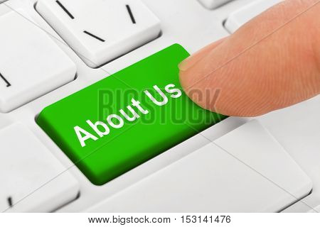 Computer notebook keyboard with About Us key - technology background - 3D illustration