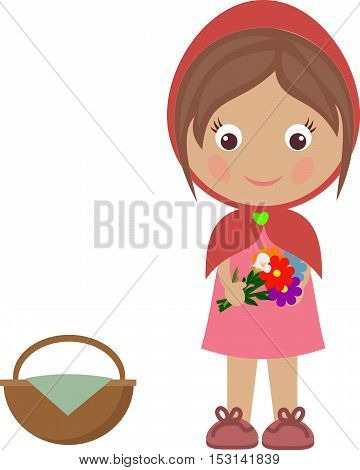 girl basket red riding hood little illustration,cute,cartoon,background