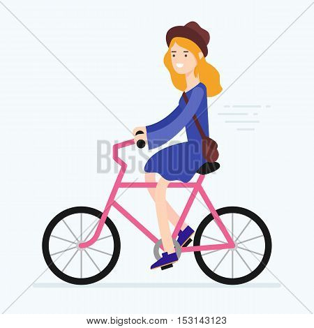 Vector illustration of a woman riding bicycle