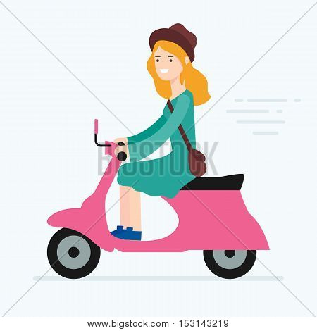 Vector illustration of a woman riding scooter