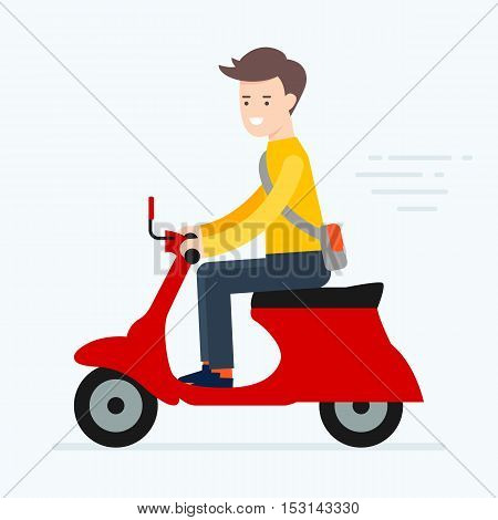Vector illustration of a man riding scooter