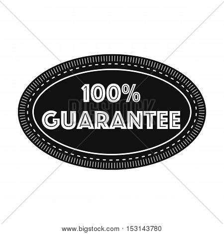 Guarantee label icon in black style isolated on white background. Label symbol vector illustration.
