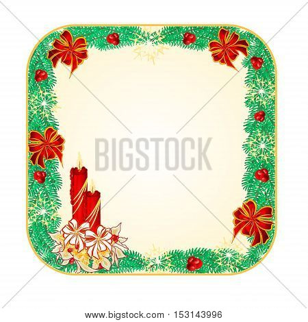 Button square Christmas Spruce with a candlestick vector illustration