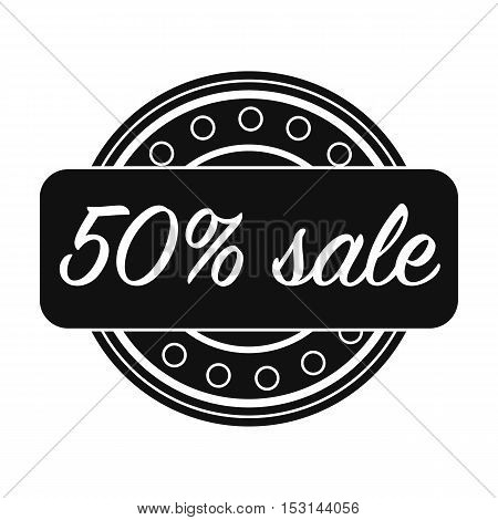 Discount icon in black style isolated on white background. Label symbol vector illustration.