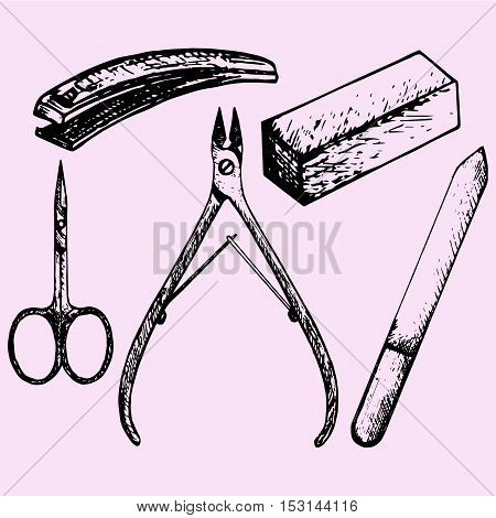 nail scissors manicure nippers nail clippers nail files doodle style sketch illustration hand drawn vector