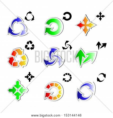 Vector set of arrows on white background