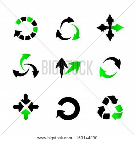 Vector collection of arrows - black and green circular arrows