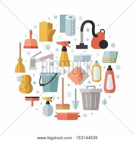 Cleaning flat multicolored vector circle illustration. Modern minimal design.