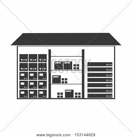 Warehouse icon in black style isolated on white background. Logistic symbol vector illustration.