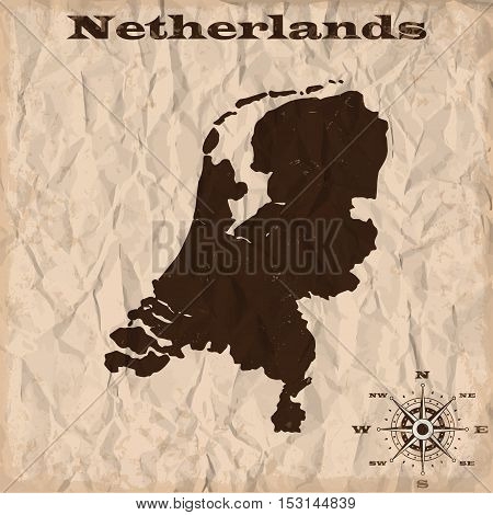 Netherlands old map with grunge and crumpled paper. Vector illustration