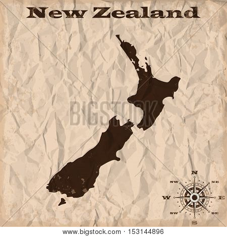 New Zealand old map with grunge and crumpled paper. Vector illustration
