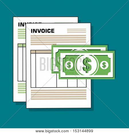 invoice document flat isolated icon vector illustration design