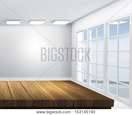 3D render of a wooden table with empty white room in background