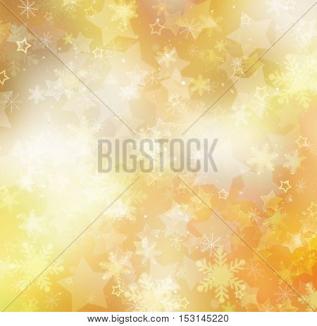 Christmas gold background of snowflakes and stars