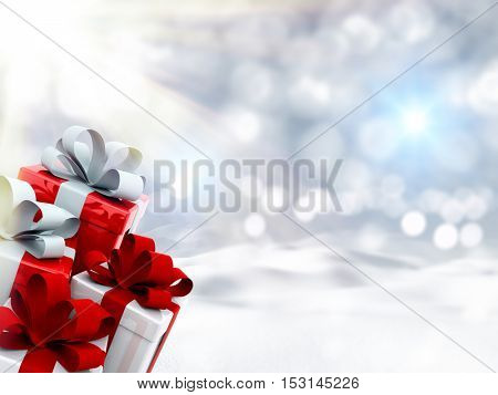 3D render of Christmas gifts in snowy landscape