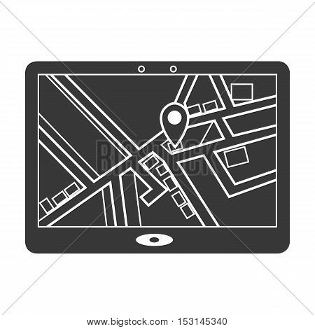 GPS icon in black style isolated on white background. Logistic symbol vector illustration.