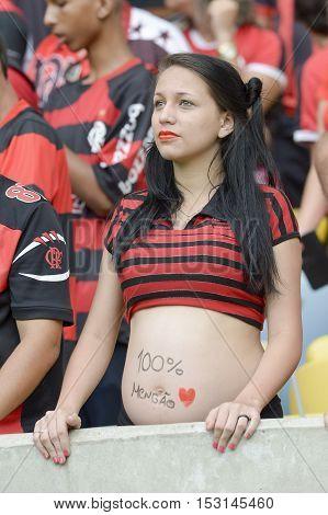 Rio de Janeiro Brazil - october 23 2016: pregnant fan player in match between Flamengo and Corinthians by the Brazilian championship in Maracan