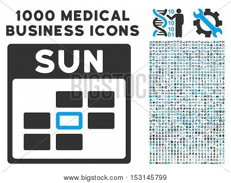 Blue And Gray Sunday Calendar Grid glyph icon with 1000 medical business pictograms. Set style is flat bicolor symbols, blue and gray colors, white background.