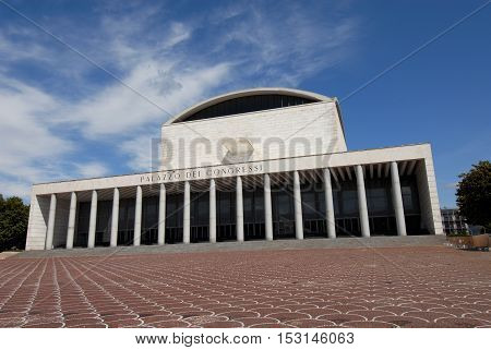 ROME, ITALY - JANUARY 27: Palazzo dei Congressi (Congress Hall) designed for the 1942 Universal Exposition and now one of the symbols of modern EUR district JANUARY 27, 2015 in Rome, Italy