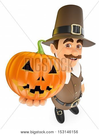 3d thanksgiving people illustration. Man with a big pumpkin. Isolated white background.