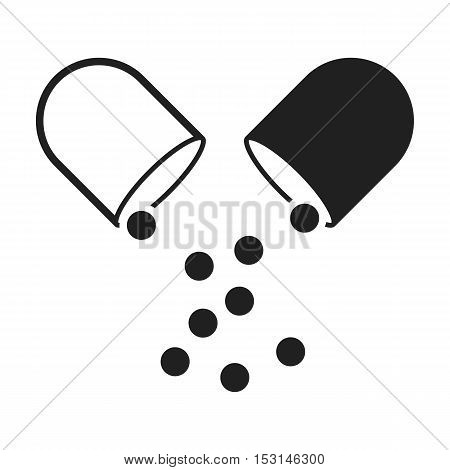 Pill icon in black style isolated on white background. Medicine and hospital symbol vector illustration.