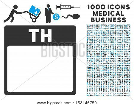 Blue And Gray Thursday Calendar Page glyph icon with 1000 medical business pictograms. Set style is flat bicolor symbols, blue and gray colors, white background.