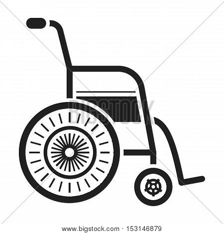 Wheelchair icon in black style isolated on white background. Medicine and hospital symbol vector illustration.