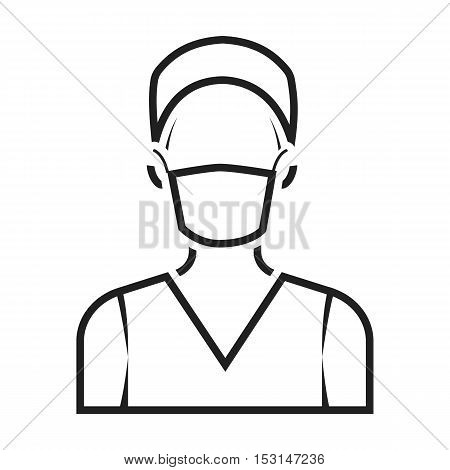 Nurse icon in black style isolated on white background. Medicine and hospital symbol vector illustration.