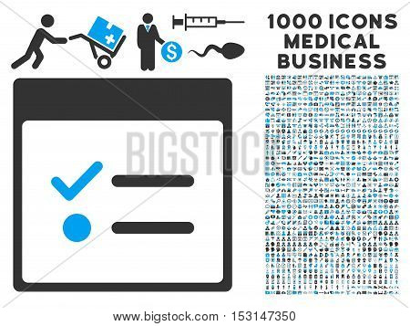 Blue And Gray Todo Items Calendar Page glyph icon with 1000 medical business pictograms. Set style is flat bicolor symbols, blue and gray colors, white background.