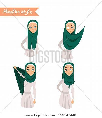Muslim woman wears hijab instructions on how to wear hijab