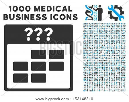 Blue And Gray Unknown Month Calendar Grid glyph icon with 1000 medical business pictograms. Set style is flat bicolor symbols, blue and gray colors, white background.